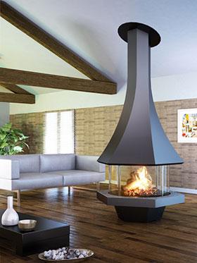 cheminee centrale granule. Black Bedroom Furniture Sets. Home Design Ideas